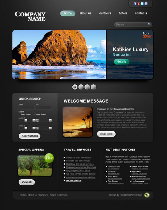 21 hotel and travel psd web templates concept dezain for Site hotel de luxe